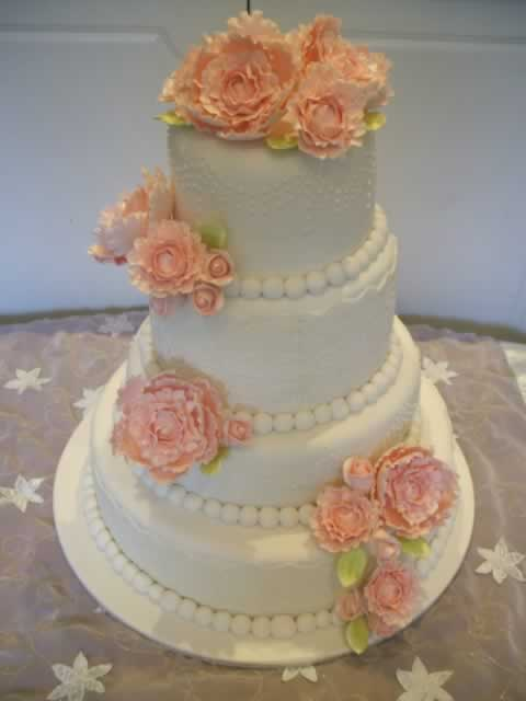 Peony and Lace Wedding Cake From $750