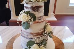 Rustic Semi Naked Wedding Cake with Eucalyptus leaves from $680