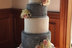 4 tier silver sequin wedding cake from $750